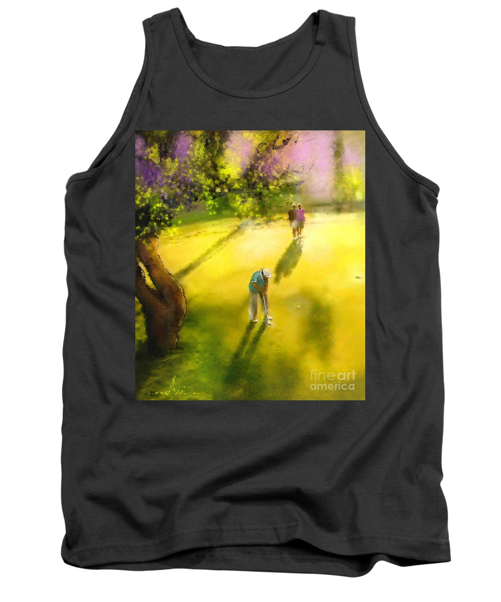 Golf Tank Top featuring the painting Golf In Spain Castello Masters 01 by Miki De Goodaboom