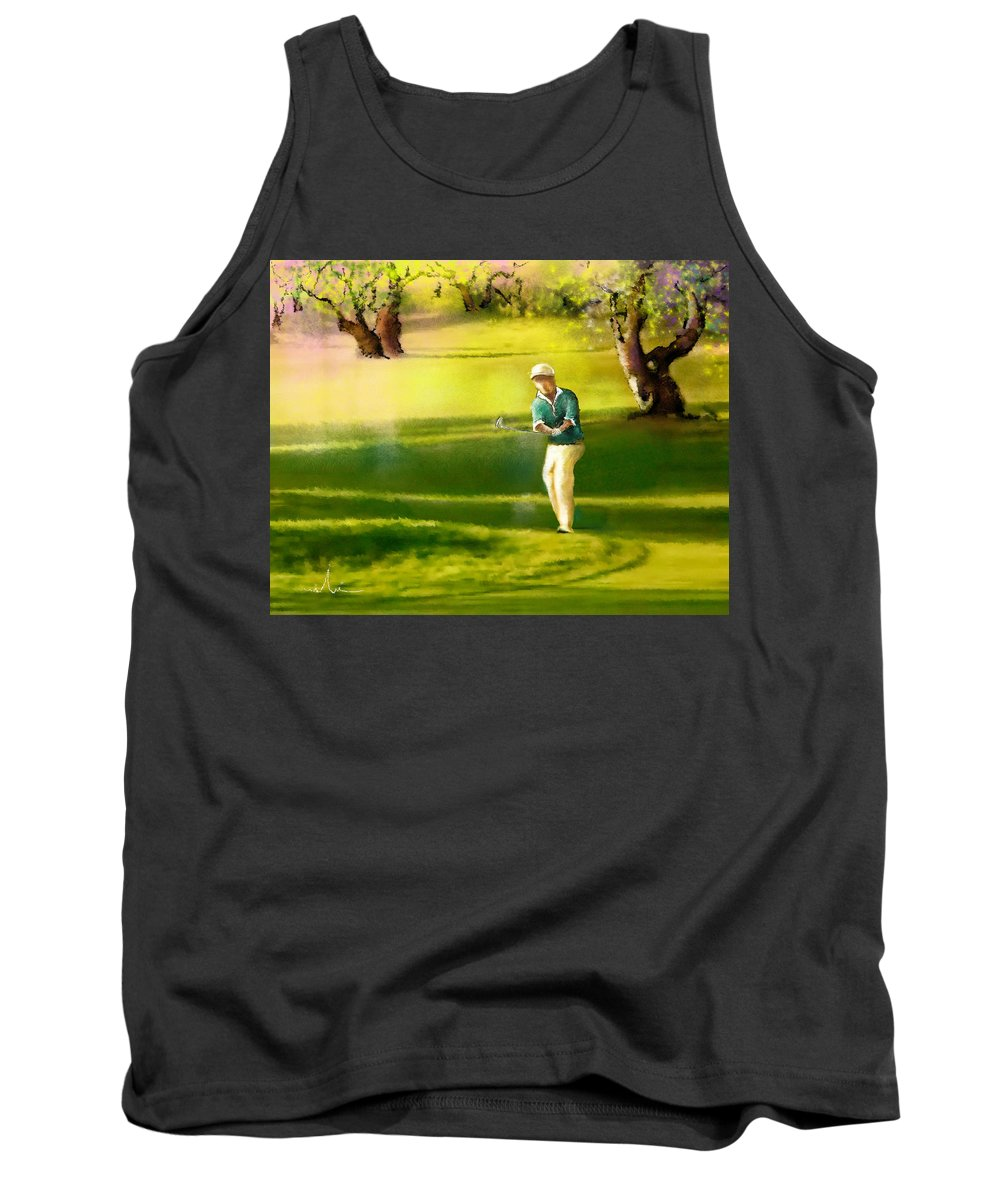 Sports Tank Top featuring the painting Golf In Spain Castello Masters 02 by Miki De Goodaboom