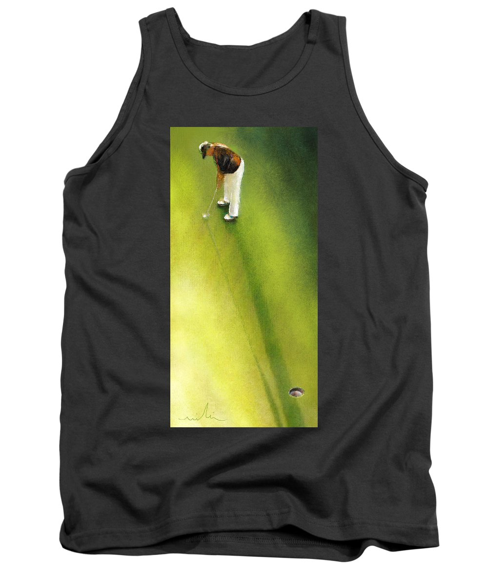 Golf Tank Top featuring the painting Golf In Spain Castello Masters 03 by Miki De Goodaboom
