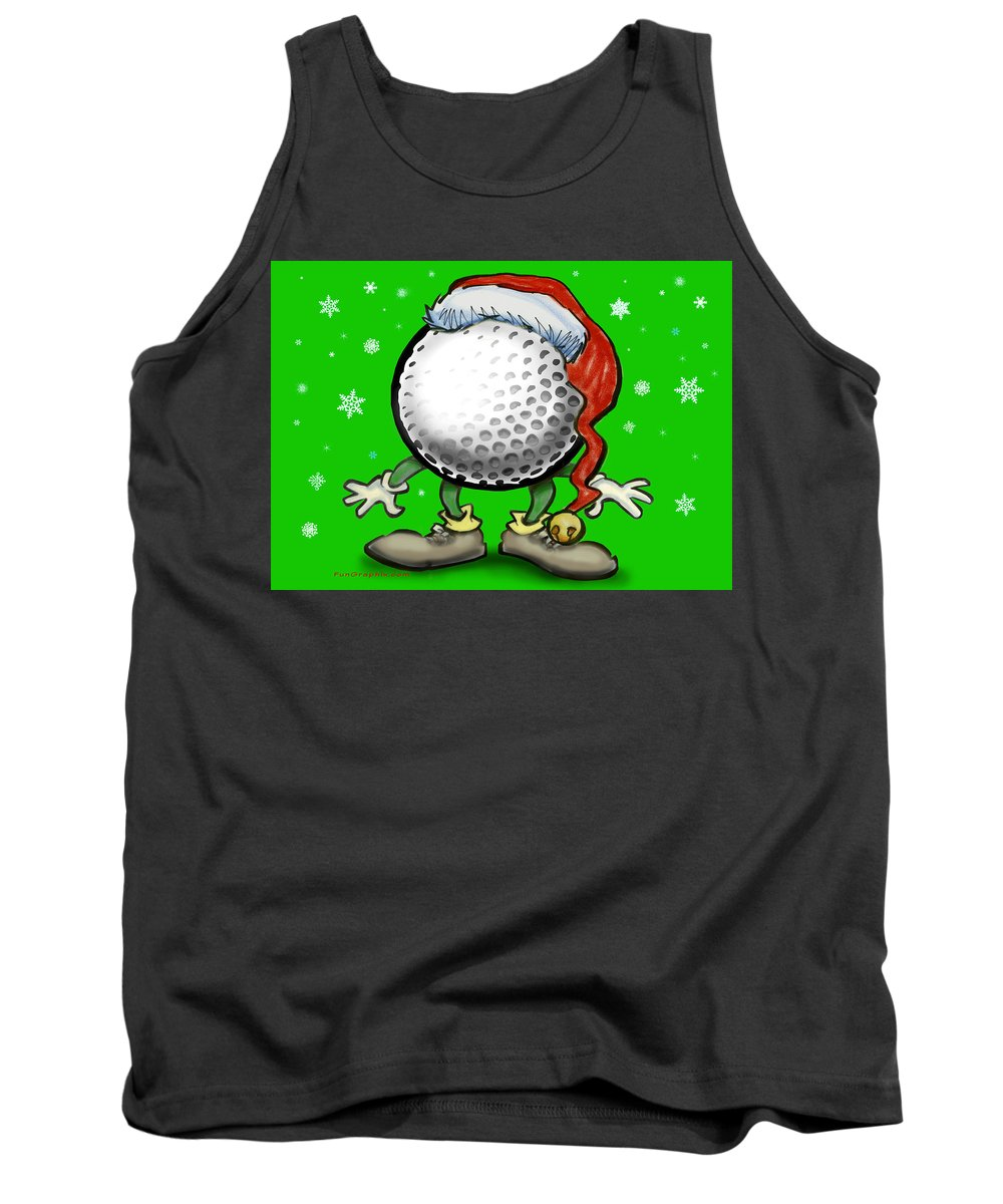 Golf Tank Top featuring the greeting card Golfmas by Kevin Middleton