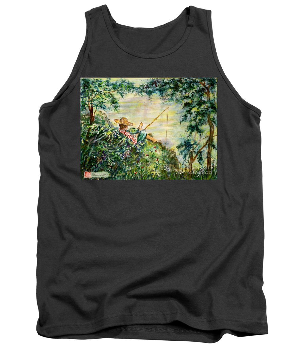 Landscape Tank Top featuring the painting Good Fishing by Norma Boeckler