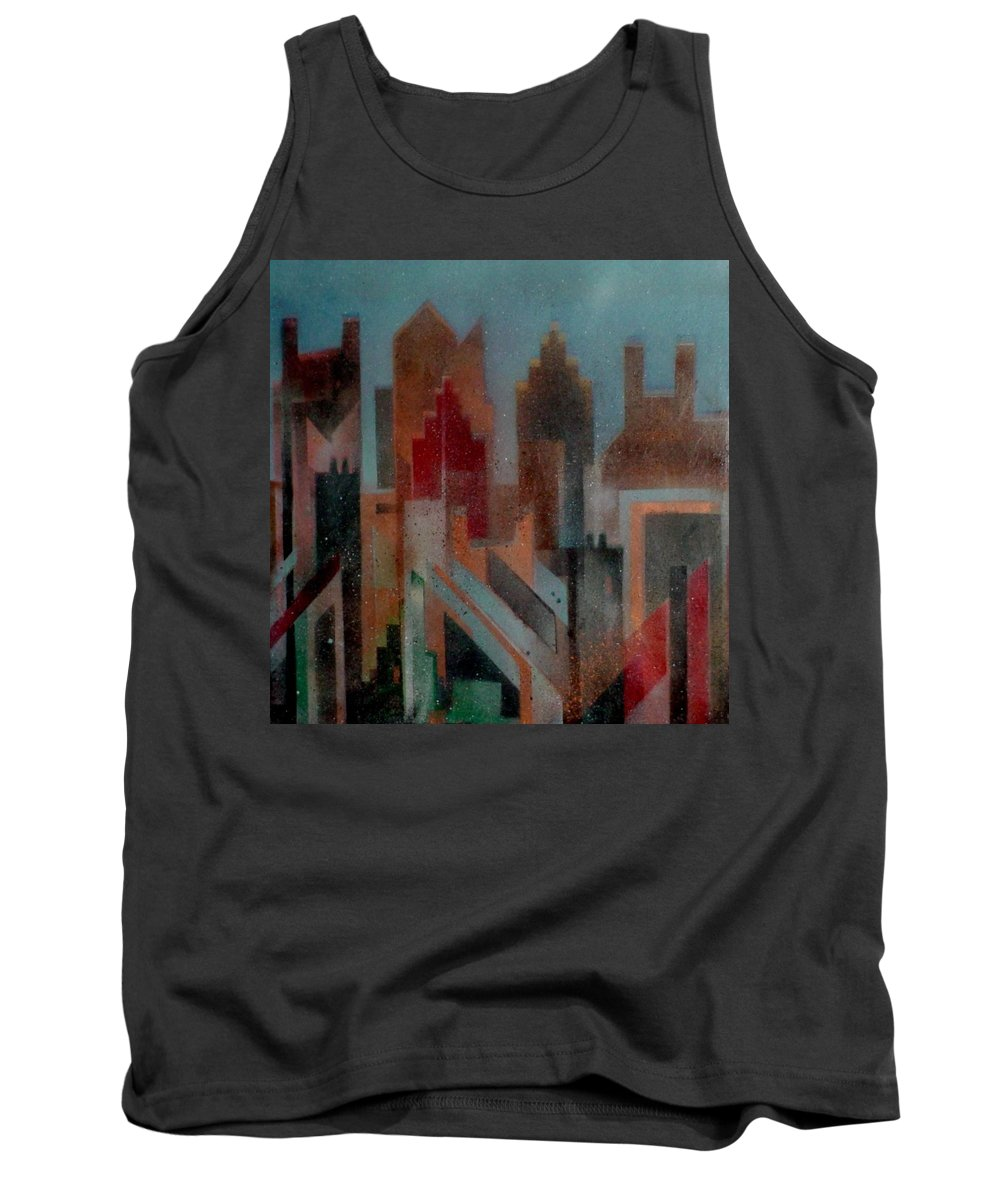 Abstract Tank Top featuring the painting Gothem City by Anita Burgermeister