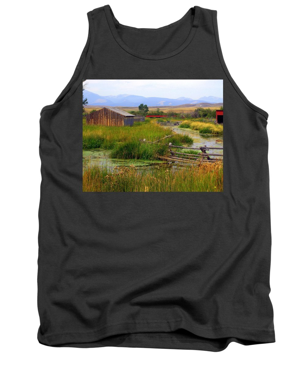 Ranch Tank Top featuring the photograph Grant Khors Ranch Deer Lodge Mt by Marty Koch