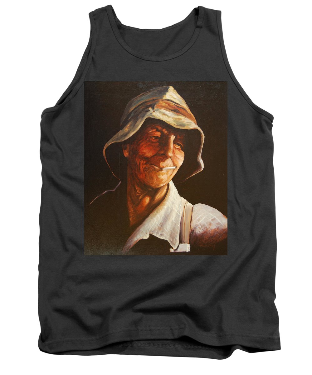 Male Tank Top featuring the painting Grape Picker by Rick Nederlof