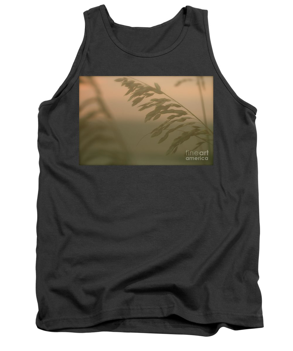 Green Tank Top featuring the photograph Grasses And Mist by Nadine Rippelmeyer