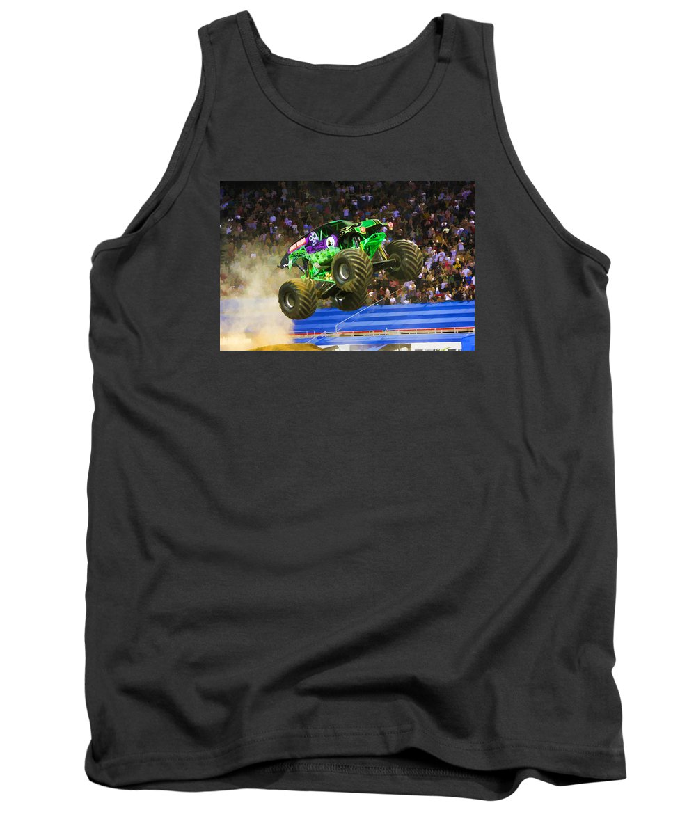Grave Digger Monster Truck Tank Top featuring the painting Grave Digger 7 by Jeelan Clark