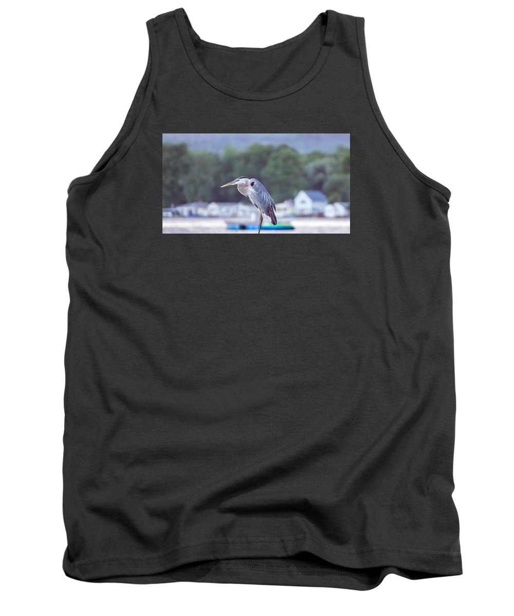 Great Blue Heron Tank Top featuring the photograph Great Blue Heron On Keuka Lake Horizontal Pano by Photographic Arts And Design Studio