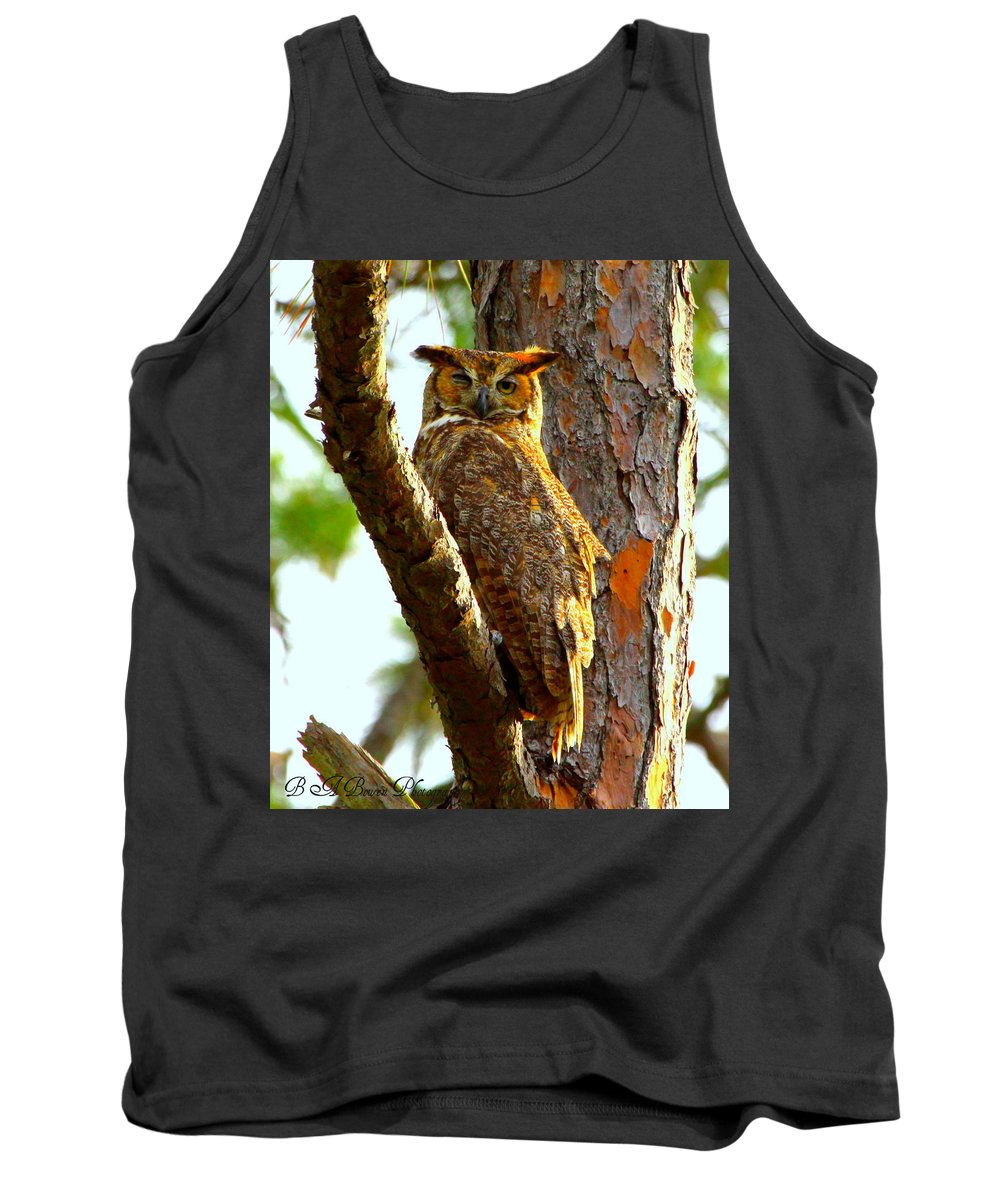 Great Horned Owl Tank Top featuring the photograph Great Horned Owl Wink by Barbara Bowen