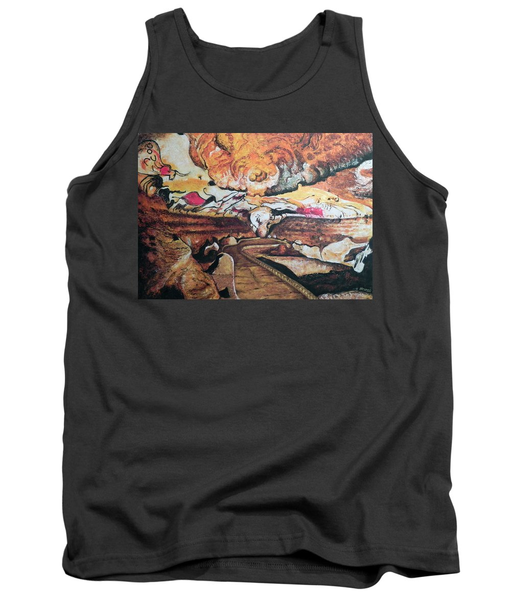 Cave Painting Tank Top featuring the painting Great Room At Lascaux by Ericka Herazo