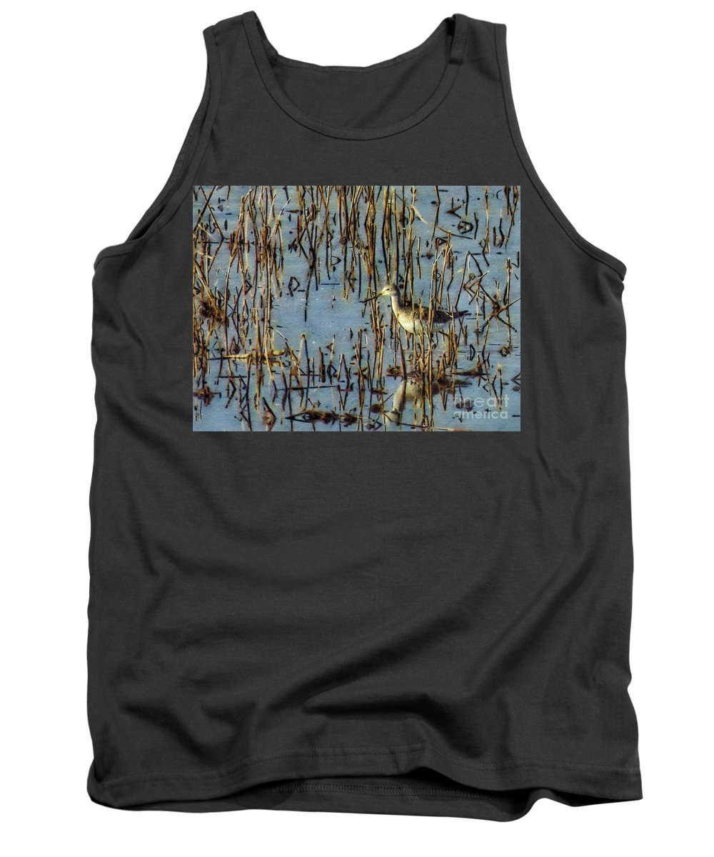 Fowl Tank Top featuring the photograph Greater Yellowleg In Reeds by Rrrose Pix