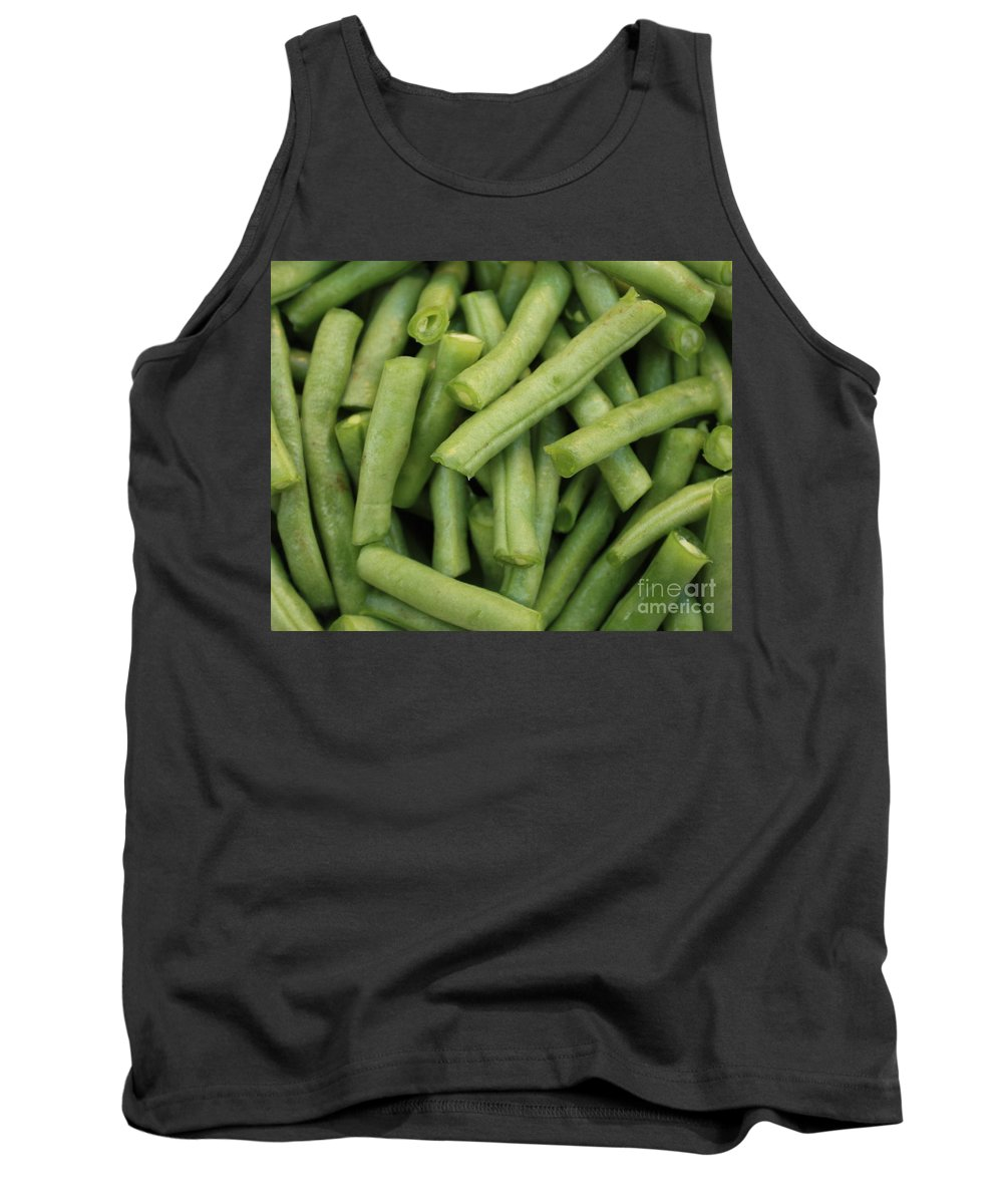 Foods Tank Top featuring the photograph Green Beans Close-up by Carol Groenen
