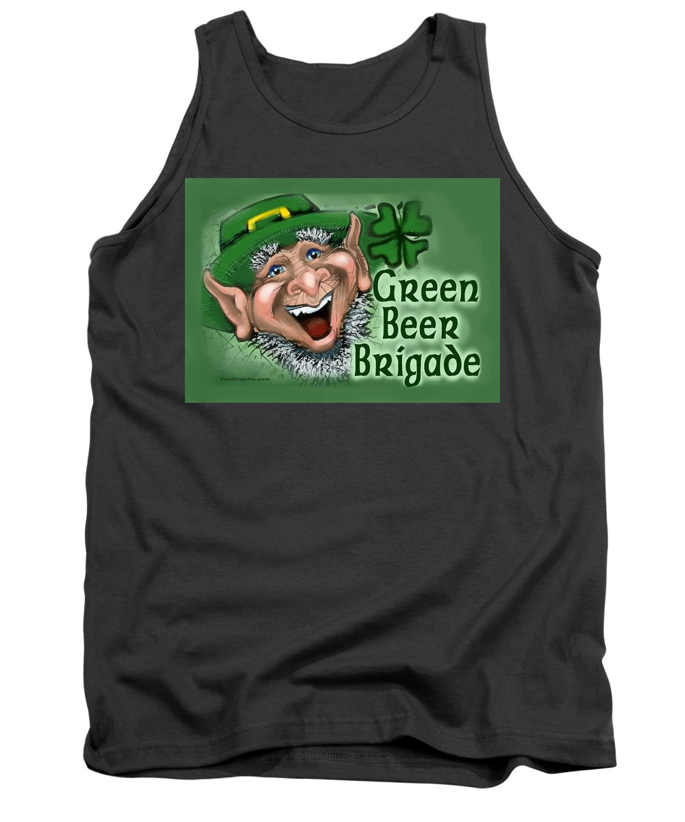 Green Beer Tank Top featuring the greeting card Green Beer Brigade by Kevin Middleton