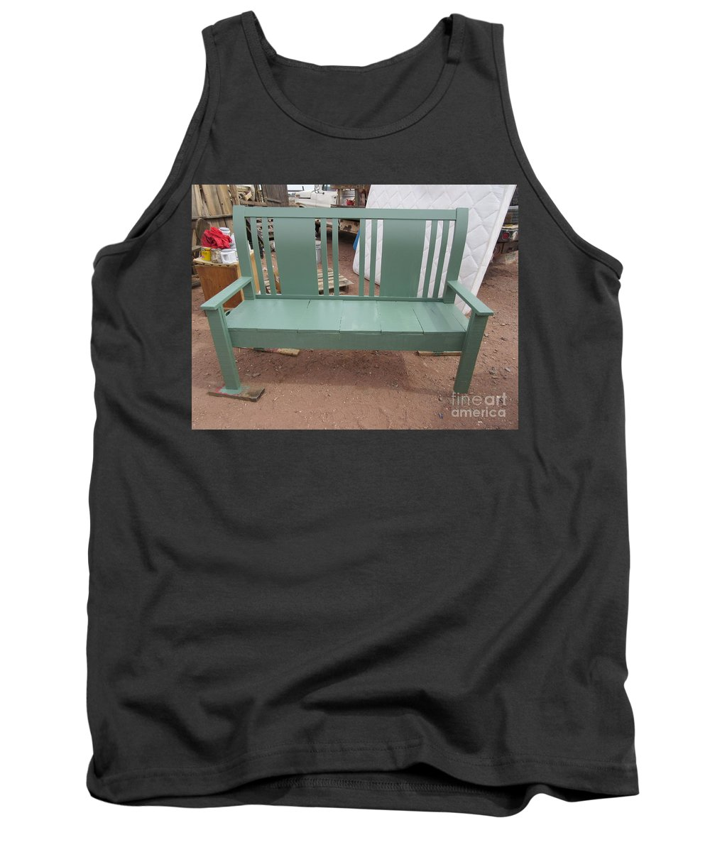 Green Tank Top featuring the photograph Green Bench by Frederick Holiday