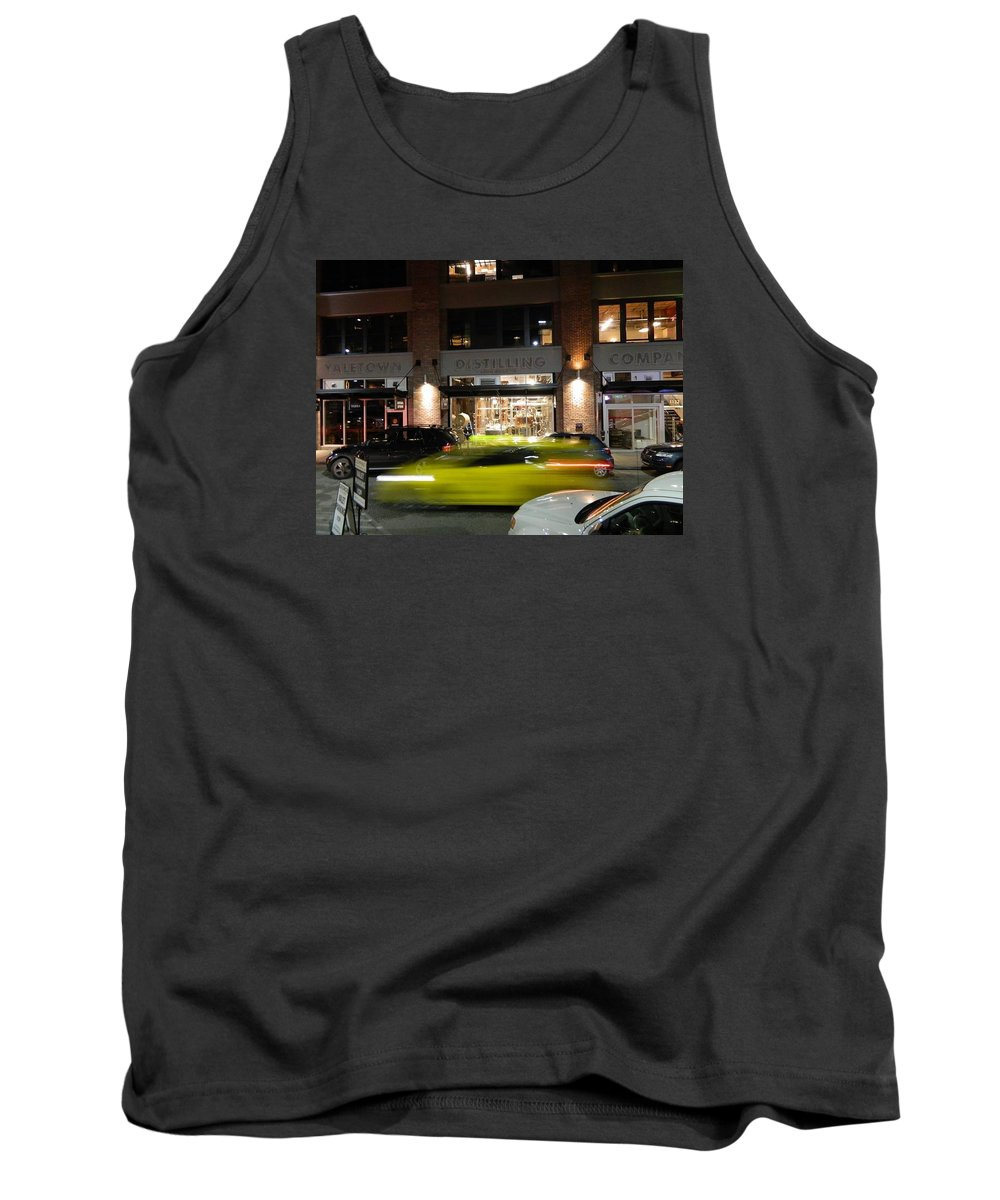 Vancouver Tank Top featuring the photograph Green Car Zooming Through Yaletown by Helen Orth
