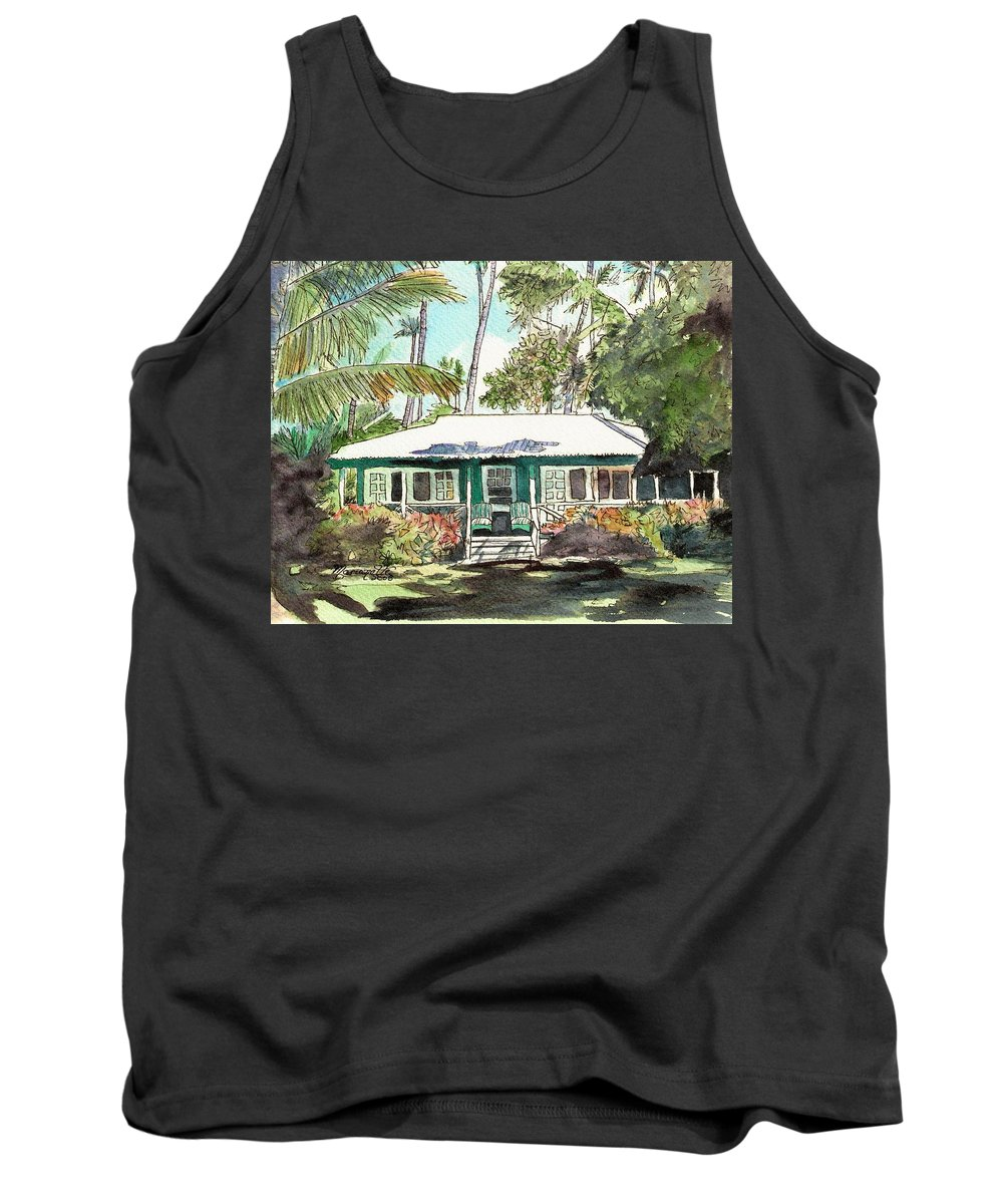 Cottage Tank Top featuring the painting Green Cottage by Marionette Taboniar