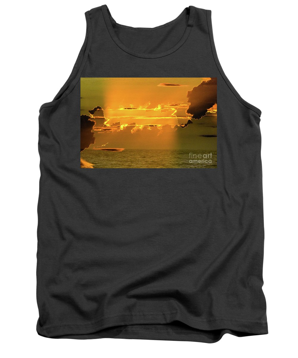 The Green Flash - Green Rayat Sunset On Boca Grande Florida 2017 Tank Top featuring the photograph Green Flash Sunset II by Thomas Carroll