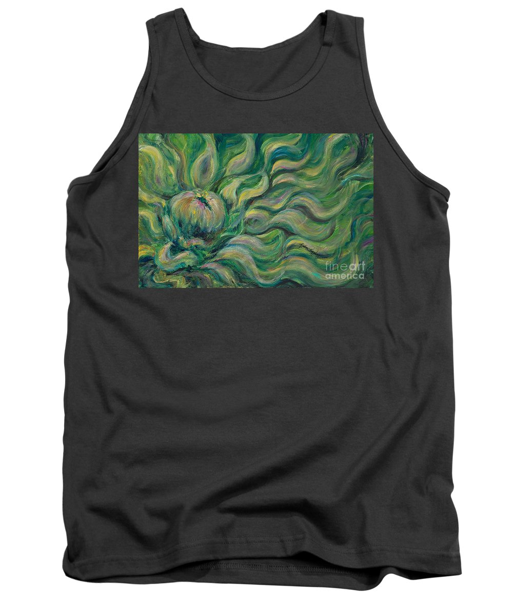 Green Tank Top featuring the painting Green Flowing Flower by Nadine Rippelmeyer