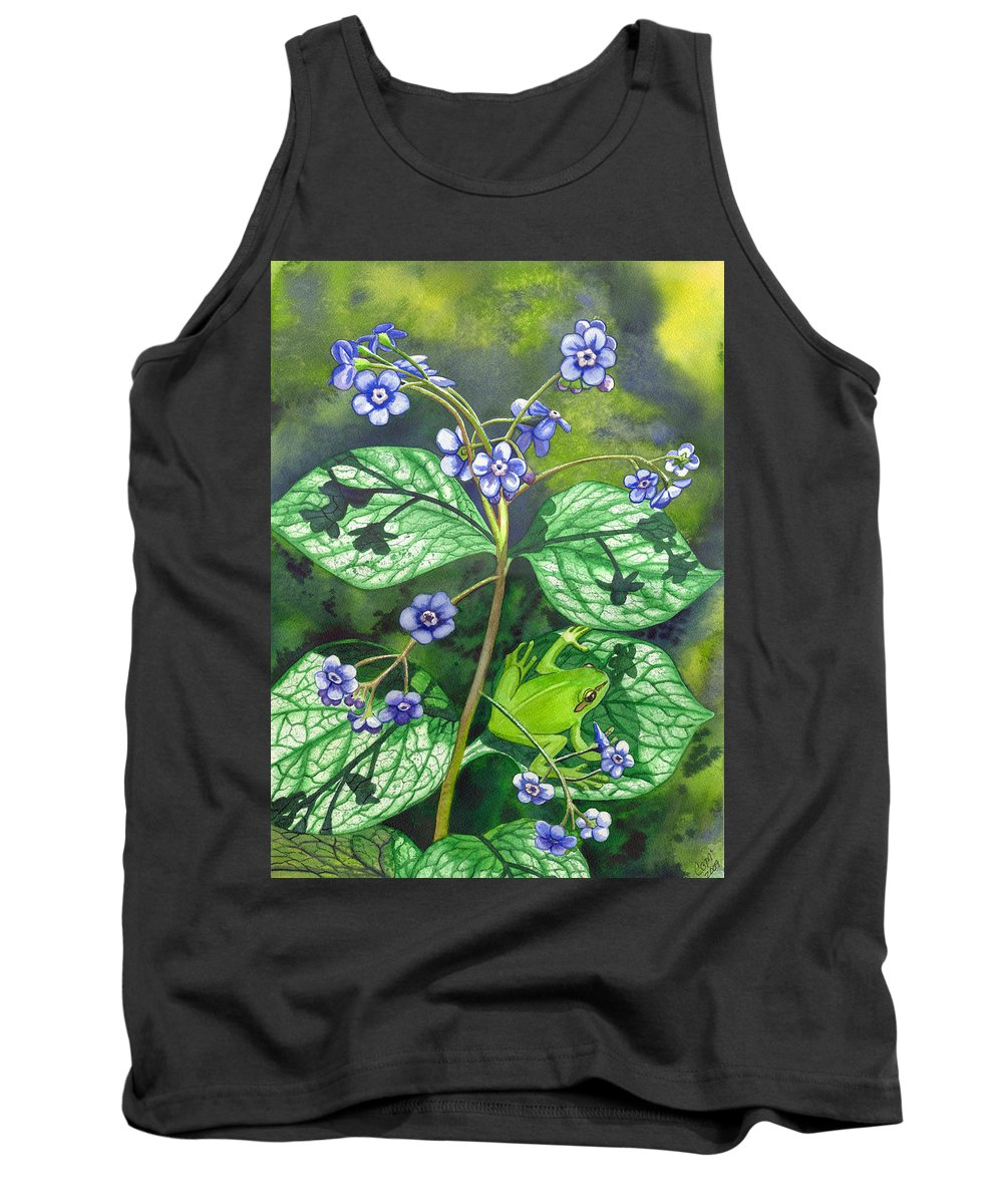 Frog Tank Top featuring the painting Green Frog by Catherine G McElroy