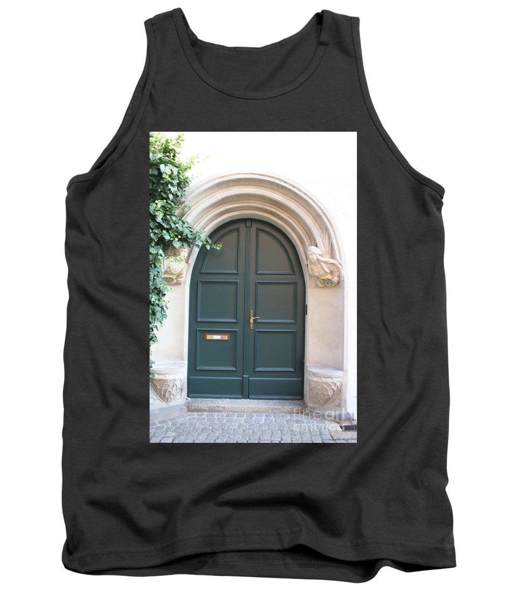 Door Tank Top featuring the photograph Green Guarded Door by Christiane Schulze Art And Photography