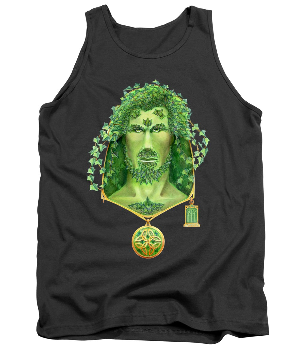 Green Man Tank Top featuring the painting Ivy Green Man by Melissa A Benson
