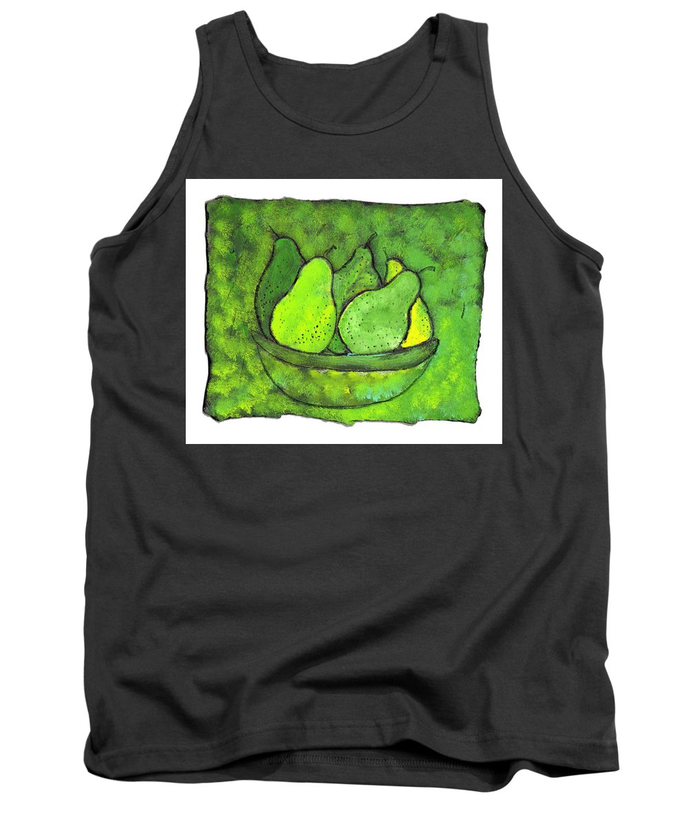 Greem. Pears Tank Top featuring the painting Green Pears by Wayne Potrafka