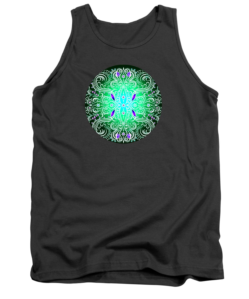 Mandala Tank Top featuring the digital art Green Piece Mandala by Amanda P