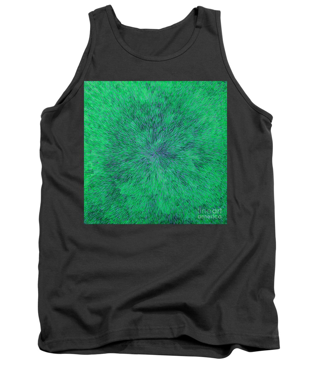 Abstract Tank Top featuring the painting Green Radation with Violet by Dean Triolo