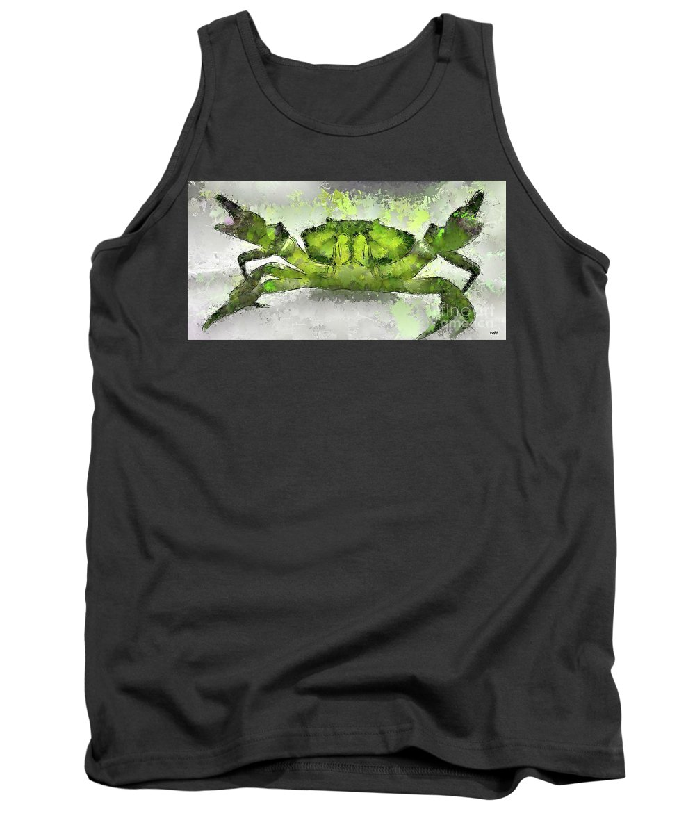 Digital Art Tank Top featuring the digital art Green Shore Crab by Dragica Micki Fortuna