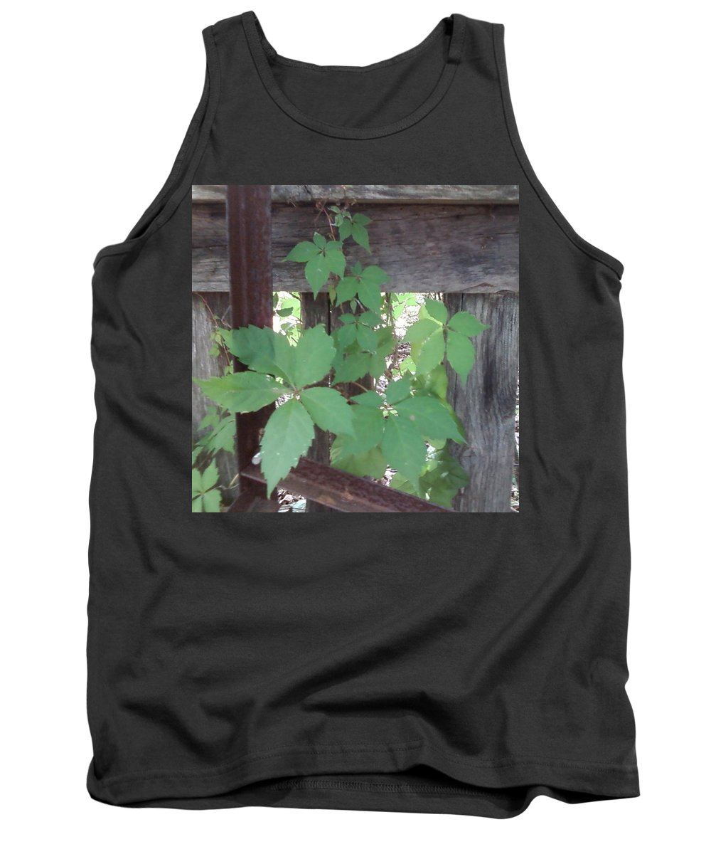 Barn Wood Fence Greenery Tank Top featuring the photograph Greenery by Cindy New