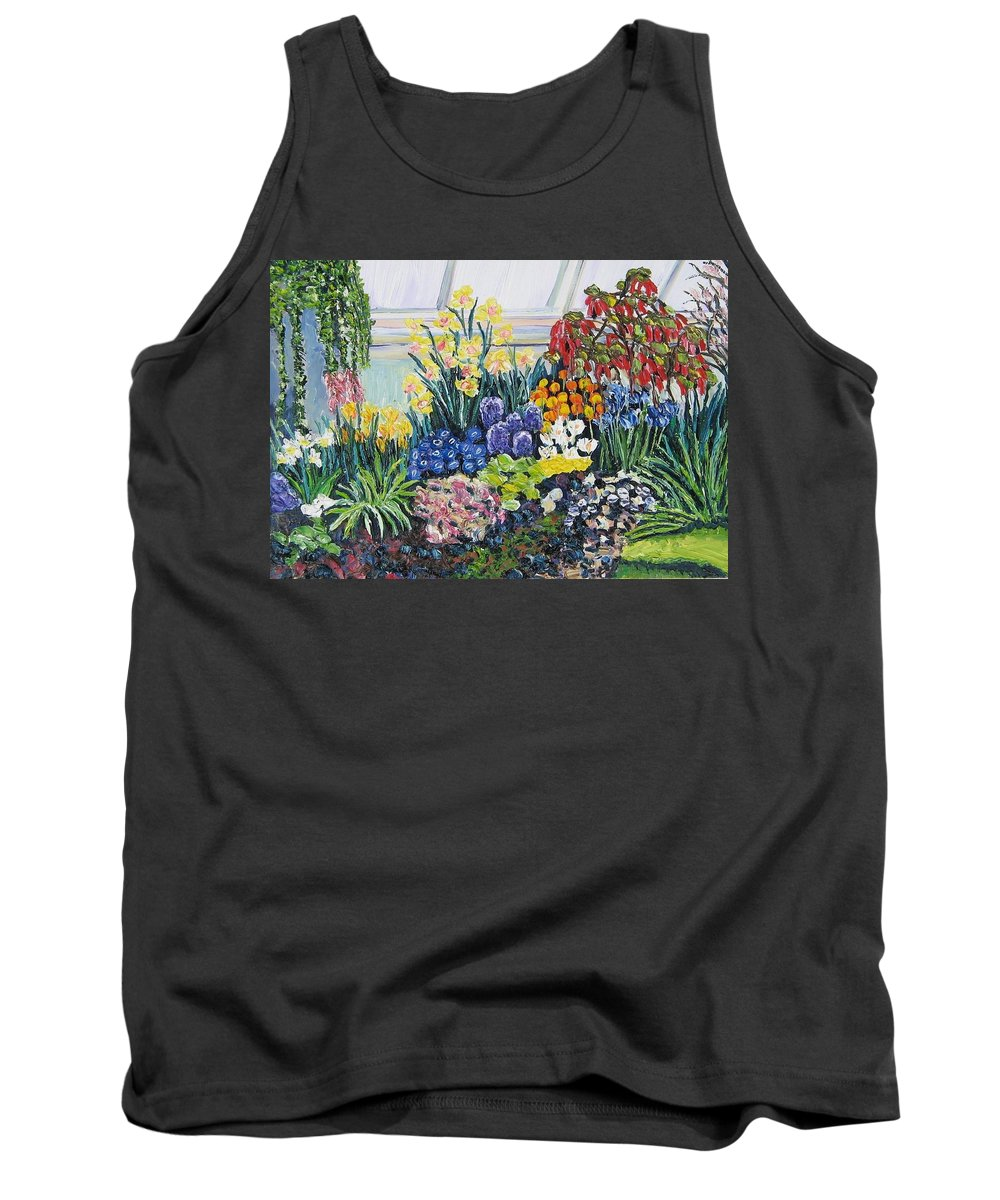 Flowers Tank Top featuring the painting Greenhouse Flowers With Blue And Red by Richard Nowak