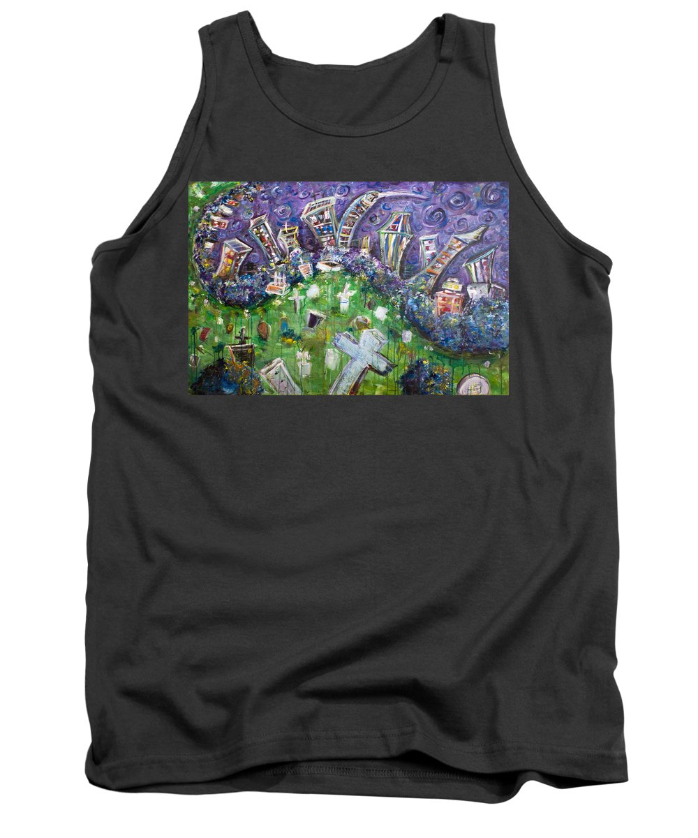 Brooklyn New York Graveyard Greenwood Tomb Headstone Grave Cross Skyline Manhattan New York City Tank Top featuring the painting Greenwood Graveyard Brooklyn by Jason Gluskin