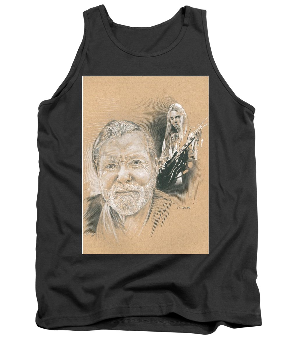 Gregg Allman Tank Top featuring the drawing Gregg Allman by Mike Addleton