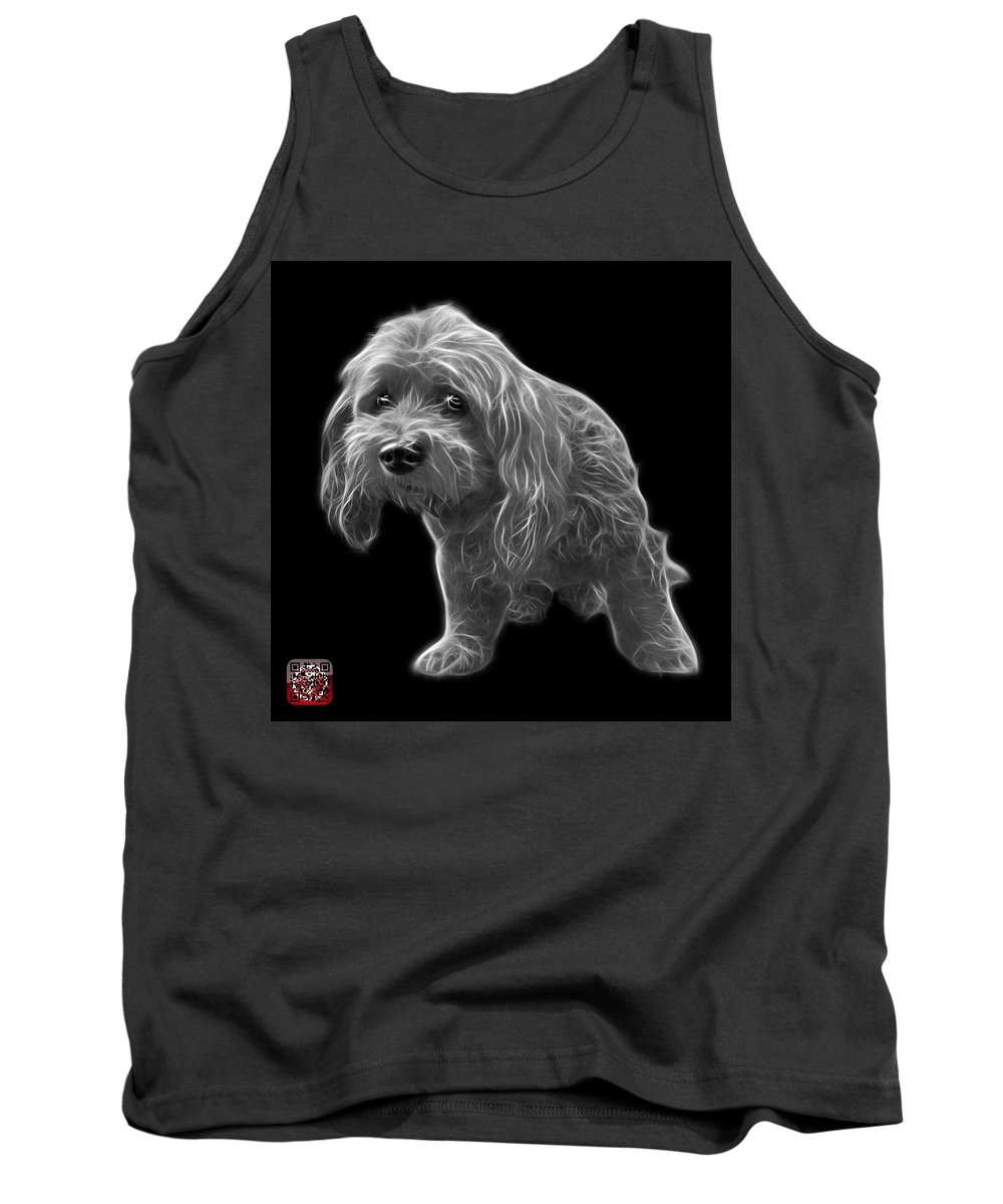 Lhasa Apso Tank Top featuring the painting Greyscale Lhasa Apso Pop Art - 5331 - Bb by James Ahn