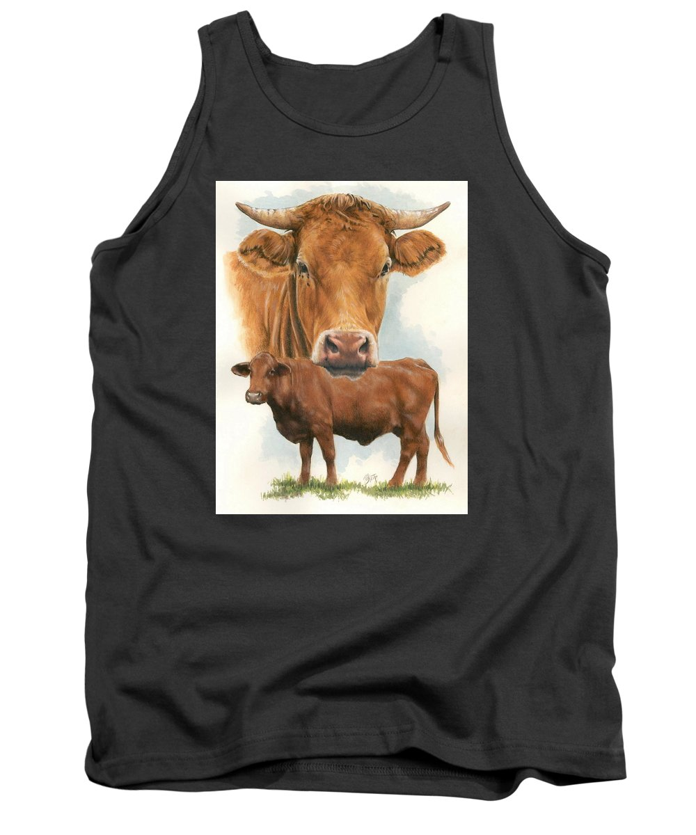 Cow Tank Top featuring the mixed media Guernsey by Barbara Keith