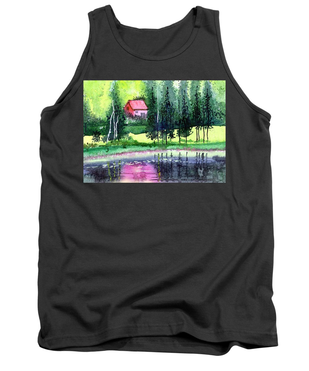 Landscape Tank Top featuring the painting Guest House by Anil Nene
