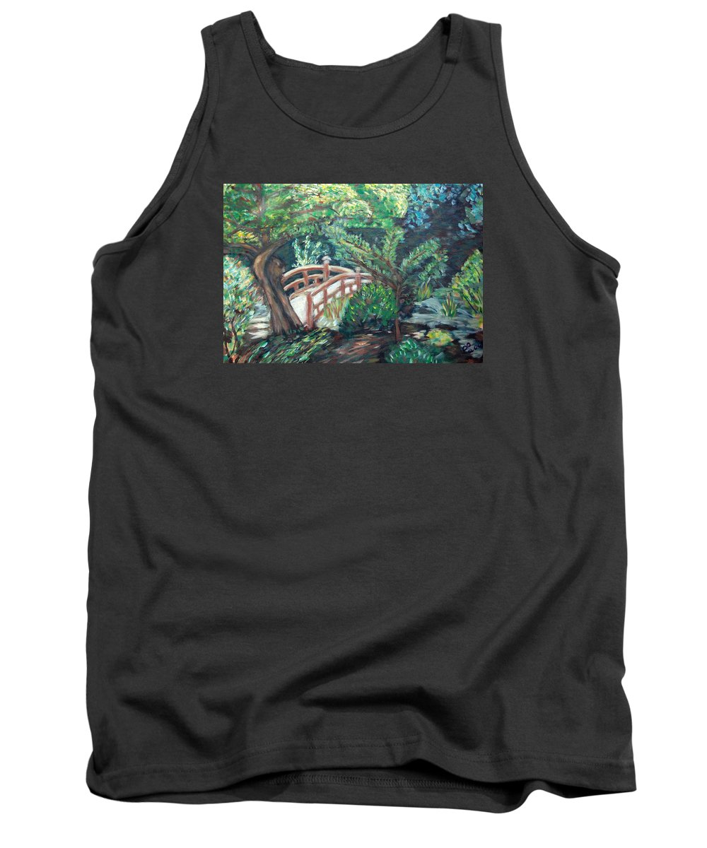 Hakone Garden Tank Top featuring the painting Hakone Garden by Carolyn Donnell