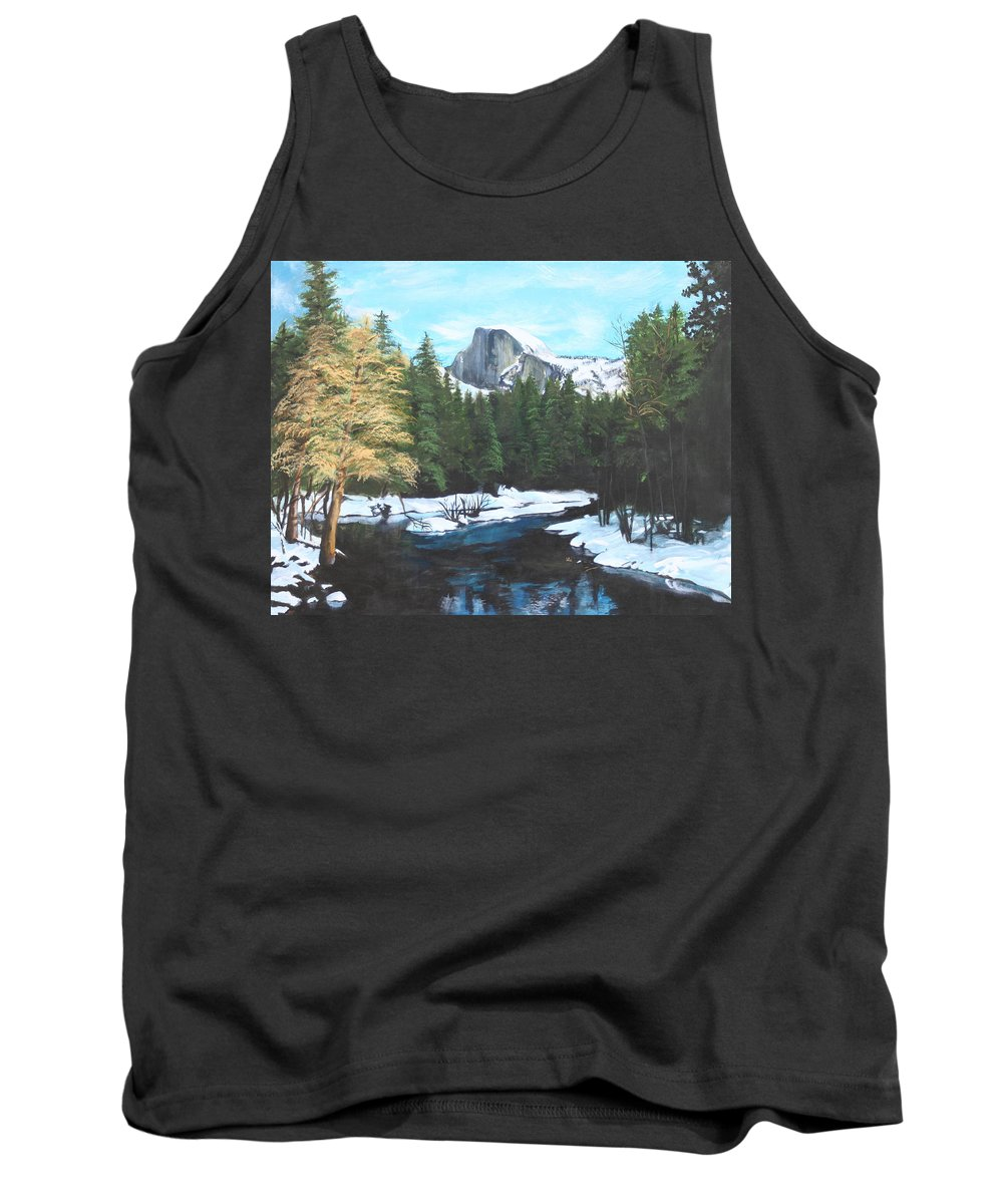 Lkandscape Tank Top featuring the painting Half Dome Snow by Travis Day