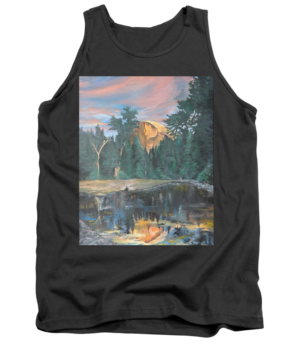 Sunset Tank Top featuring the painting Half Dome Sunset by Travis Day