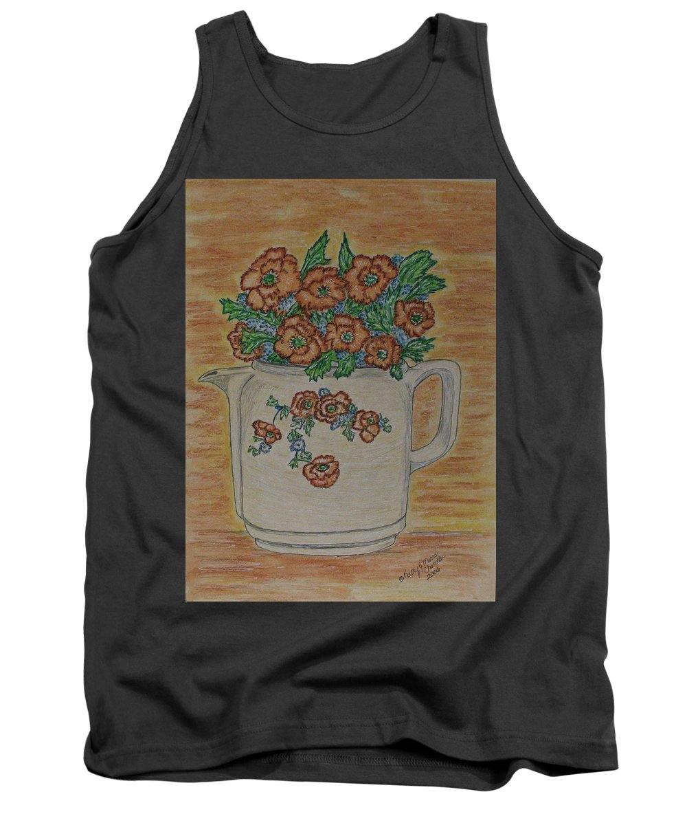 Hall China Tank Top featuring the painting Hall China Orange Poppy And Poppies by Kathy Marrs Chandler