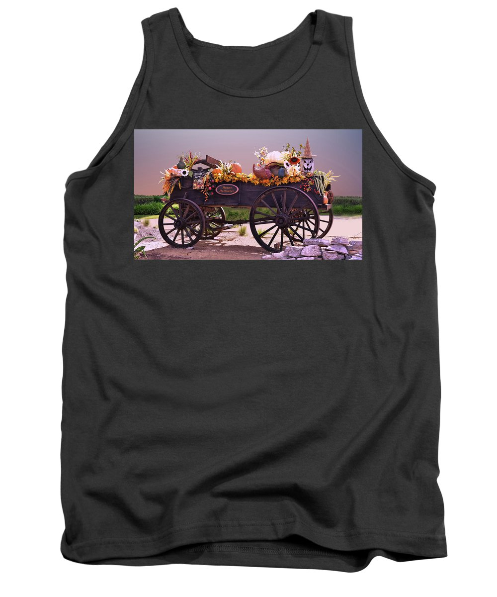 Linda Brody Tank Top featuring the photograph Halloween Cart Full Of Fall Harvest Goodies by Linda Brody