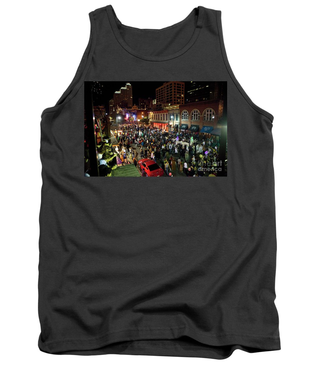 Sixth Street Tank Top featuring the photograph Halloween Draws Tens Of Thousands To Celebrate On 6th Street by Austin Welcome Center