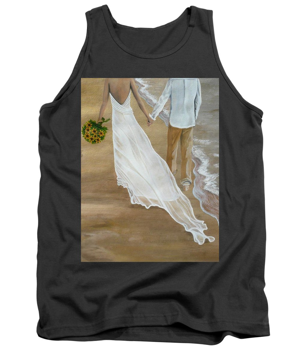 Bride And Groom Tank Top featuring the painting Hand In Hand by Kris Crollard