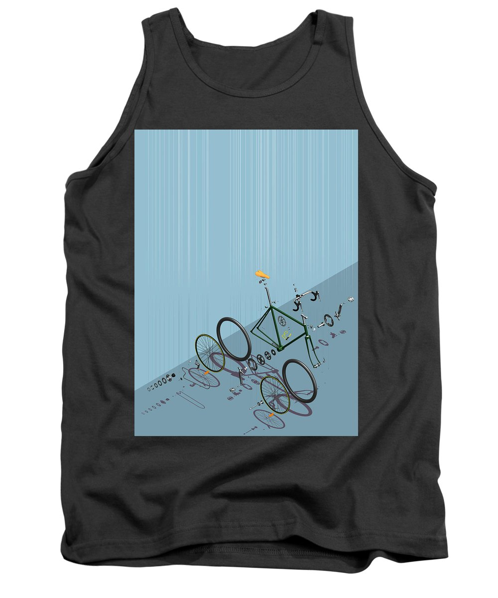 Drawing Tank Top featuring the digital art Hanging Bike by Liam Keating