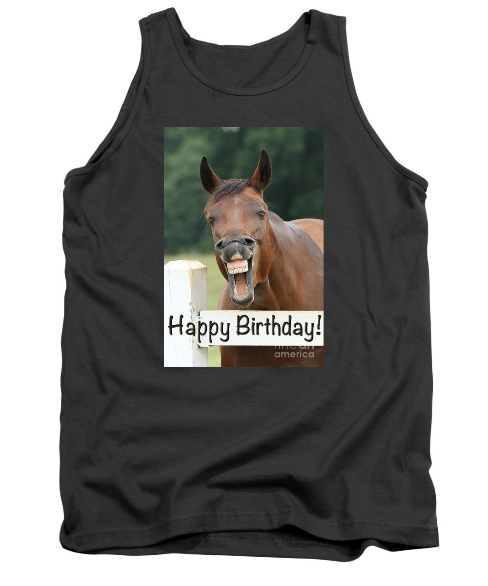 Emotions Tank Top featuring the photograph Happy Birthday Smiling Horse by Jt PhotoDesign