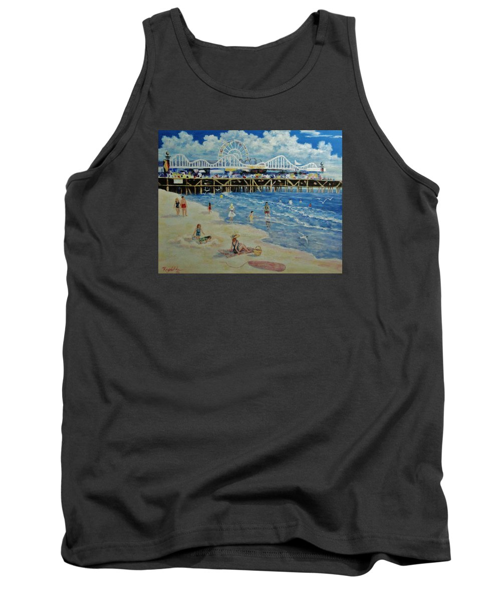 Seascape Tank Top featuring the painting Happy Day At Santa Monica Beach And Pier by Carol Reynolds