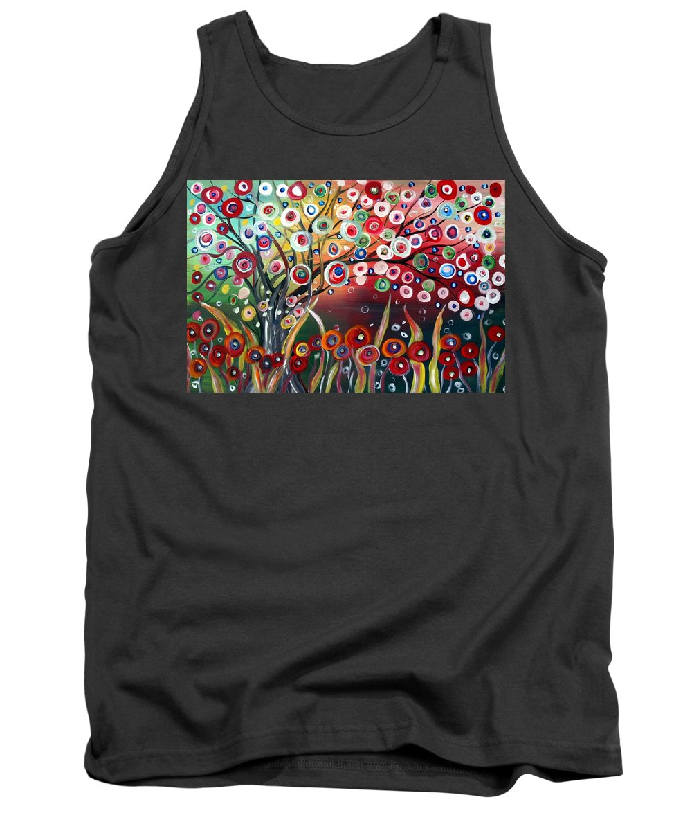 Landscape Tank Top featuring the painting Happy Days by Luiza Vizoli