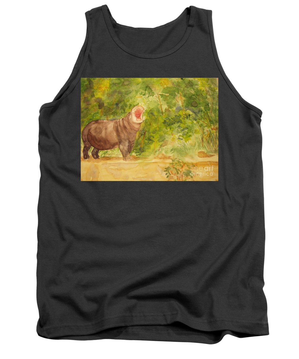 Africa Tank Top featuring the painting Happy Hippo by Vicki Housel