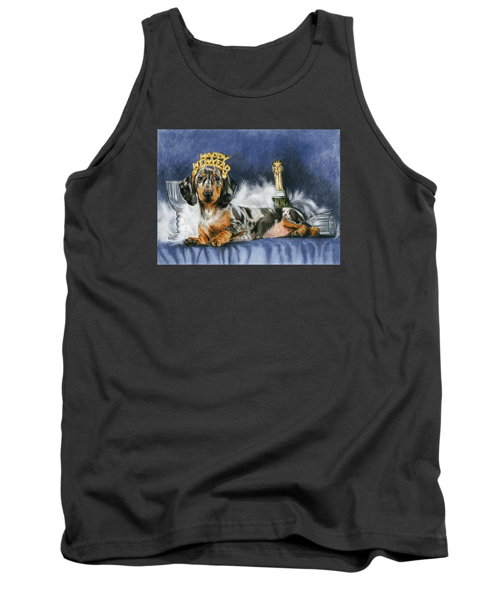 Dog Tank Top featuring the mixed media Happy New Year by Barbara Keith