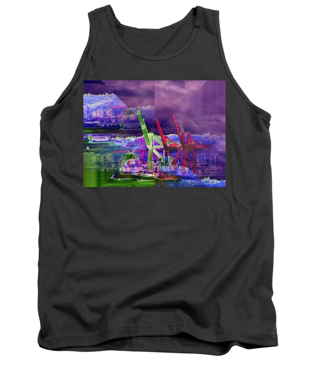 Seattle Tank Top featuring the digital art Harbor Island Workhorses by Tim Allen