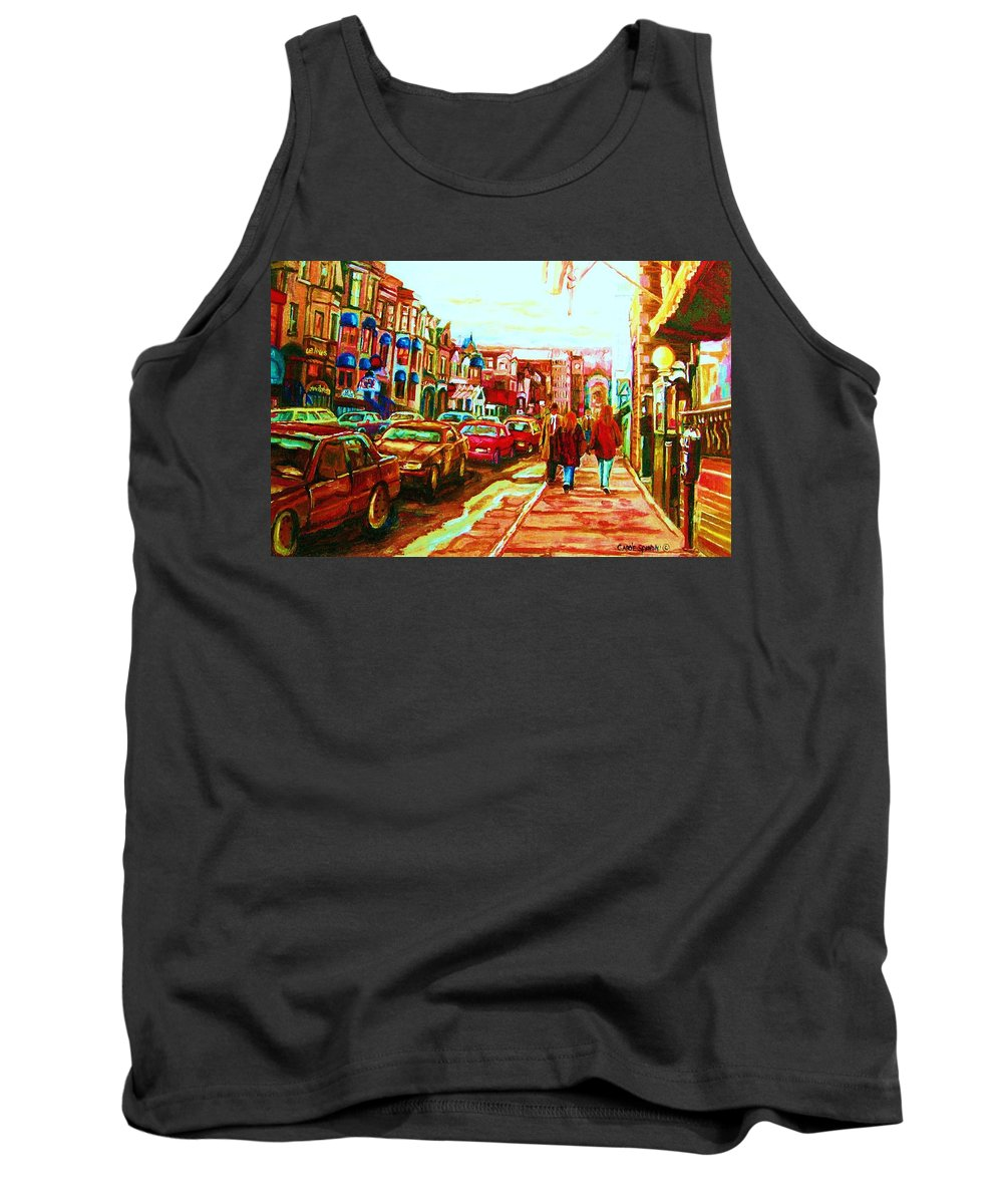 Montreal Streetscenes Tank Top featuring the painting Hard Rock On Crescent by Carole Spandau
